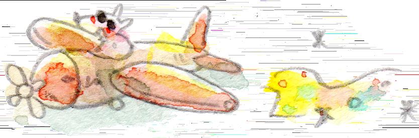イラスト 水彩 犬 飛行機